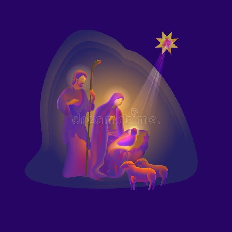 Holy night. Vector illustration of Birth of Christ. royalty free illustration