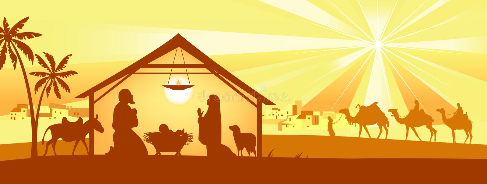 Download Holy Night, Way To Bethlehem Stock Vector - Illustration: 7124123