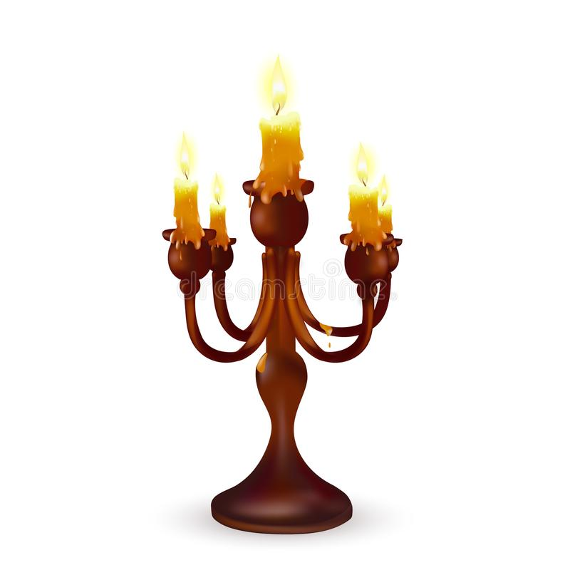 Holy old candlestick with burning candles stock illustration