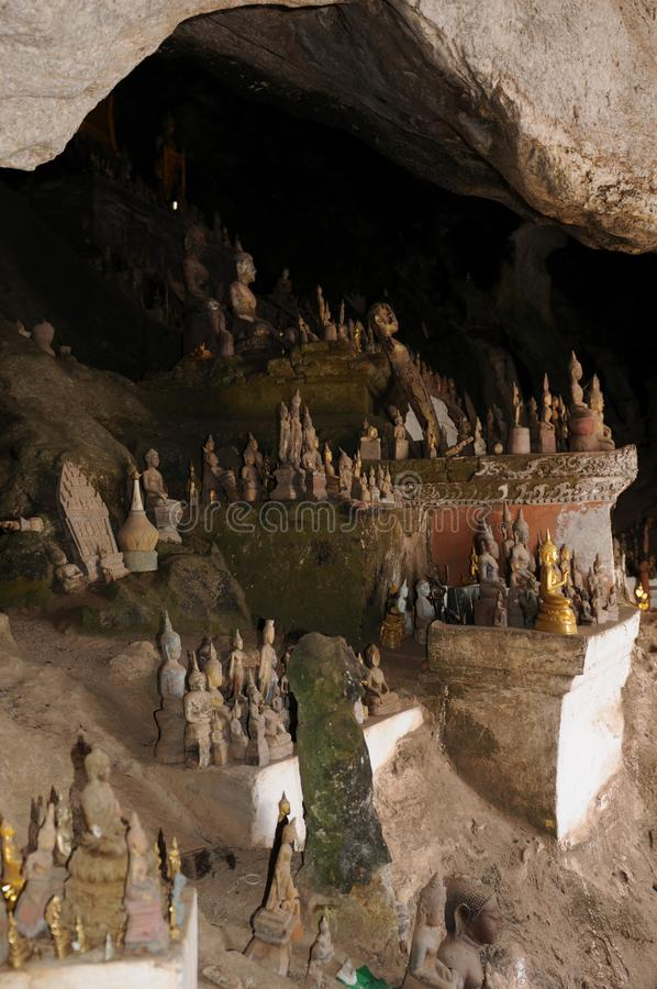 The holy Pak Ou Caves at Mekong River is a spiritual place royalty free stock photo