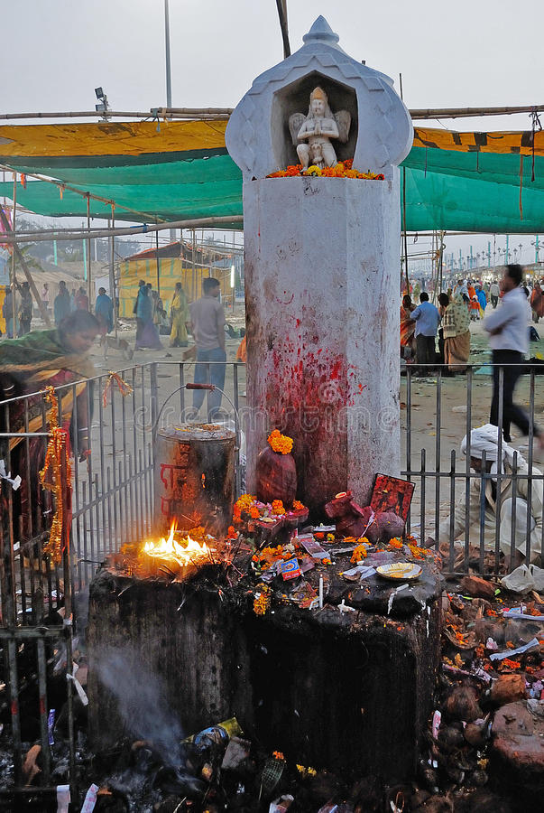 Holy Place in India. Devotees are performing their religious deeds at the fair ground of Ganga sagar stock photos