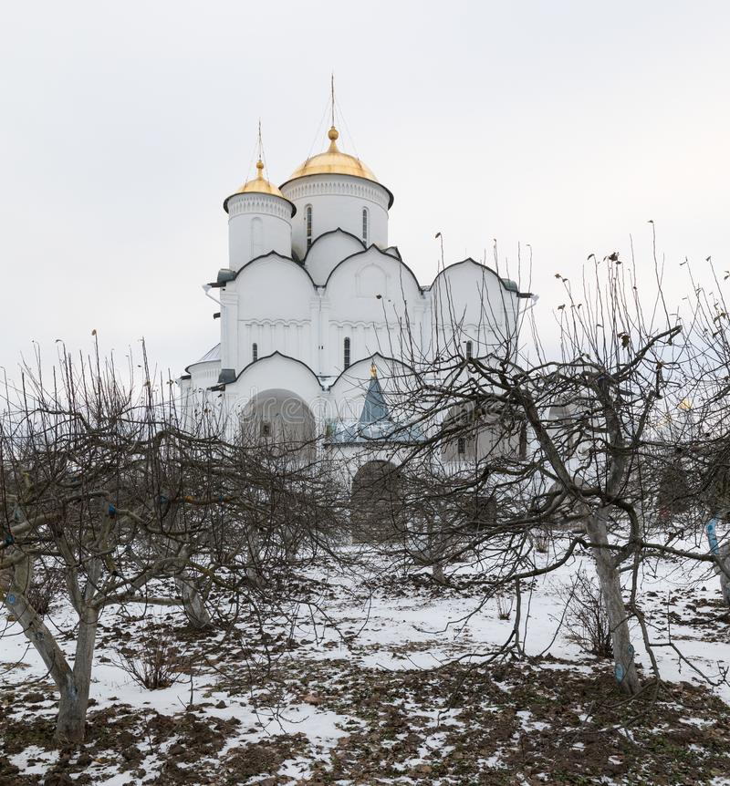 Holy Protection Convent in Suzdal. Pokrovsky women`s monastery in winter. Suzdal. Russia. royalty free stock image