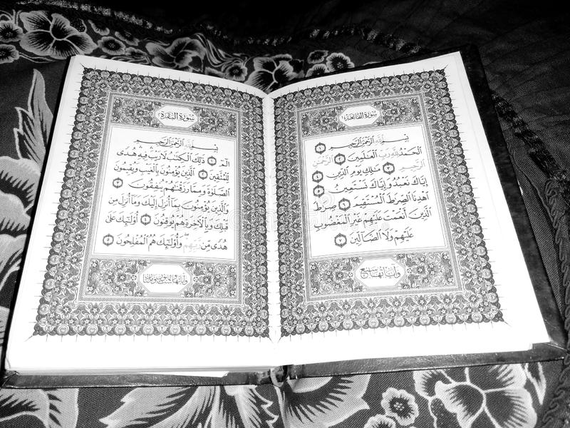Holy Quran in black and white royalty free stock images