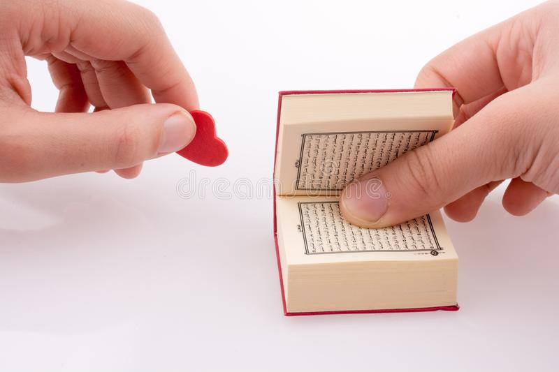 The Holy Quran. Hand holding The Holy Quran with a heart on a white background royalty free stock photo