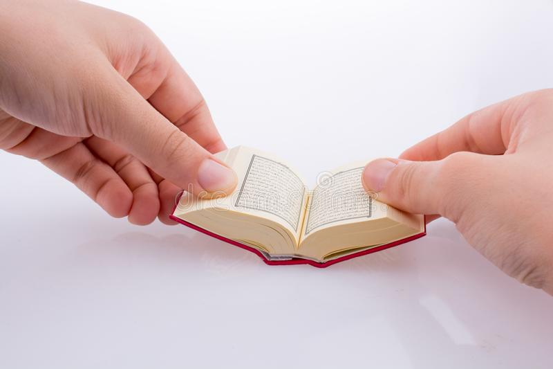 The Holy Quran. Hand holding The Holy Quran on a white background royalty free stock image