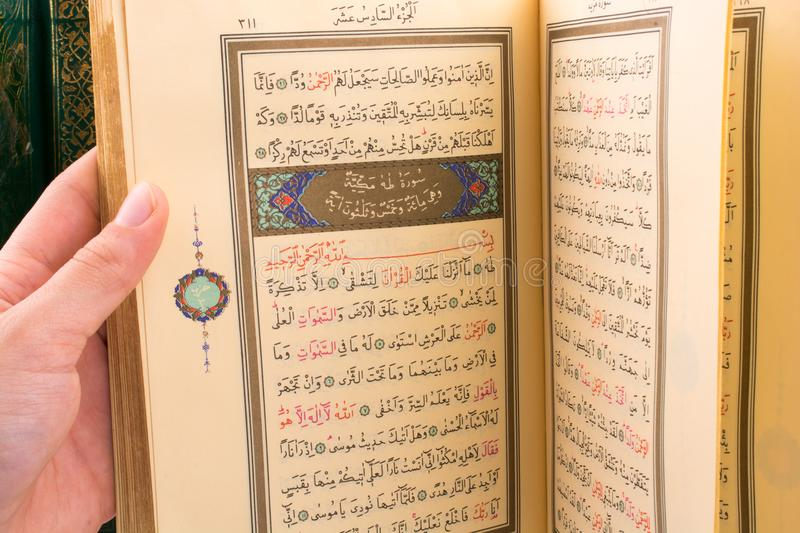 The Holy Quran. Hand holding The Holy Quran on a white background stock image