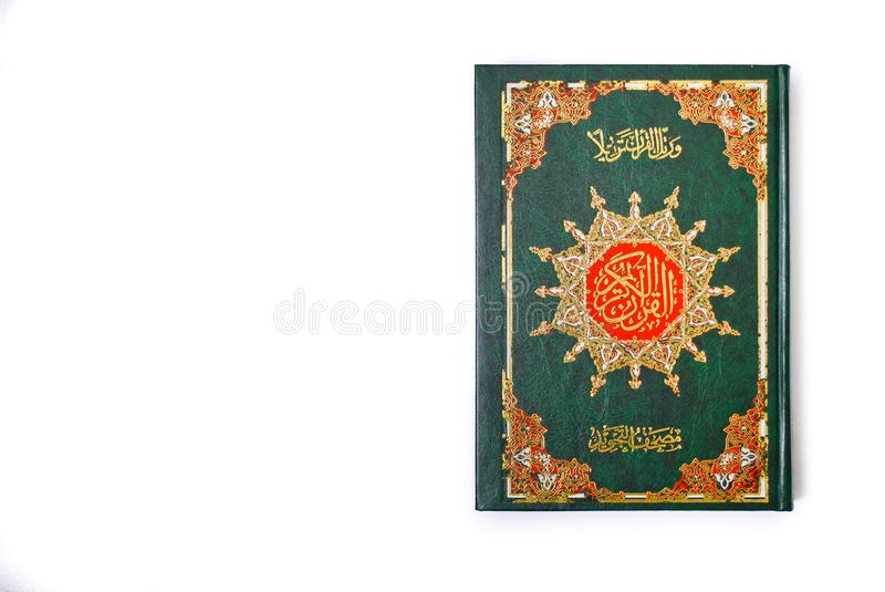 The Holy Quran. Isolated over white background. Muslim holy book and guidance royalty free stock images