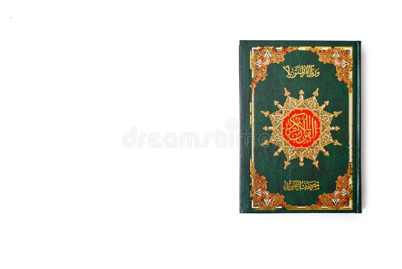 The Holy Quran. Isolated over white background. Muslim holy book and guidance stock photos
