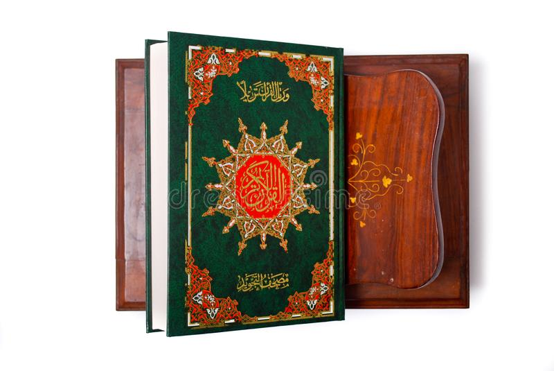 The Holy Quran. Isolated over white background. Muslim holy book and guidance stock images