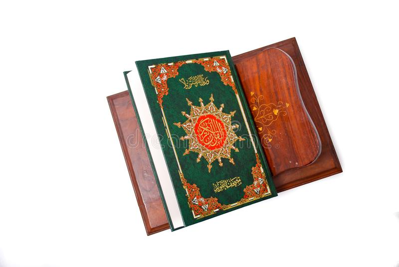The Holy Quran. Isolated over white background. Muslim holy book and guidance stock photography