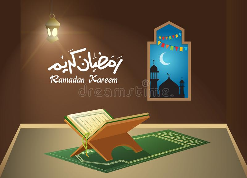Quran in Room During Night, Worship Concept vector illustration