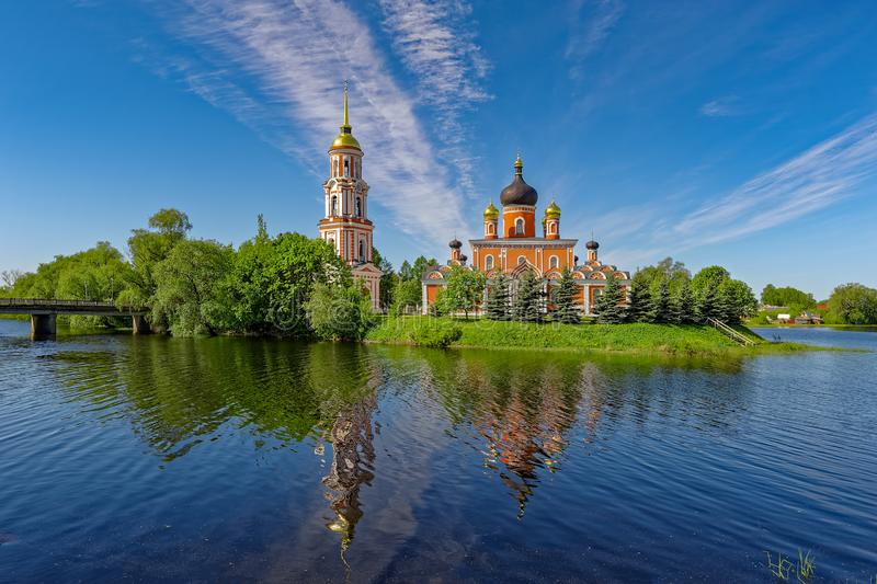 Holy Resurrection Cathedral with reflection at river Porcie. Staraya Russa, Russia. royalty free stock photo