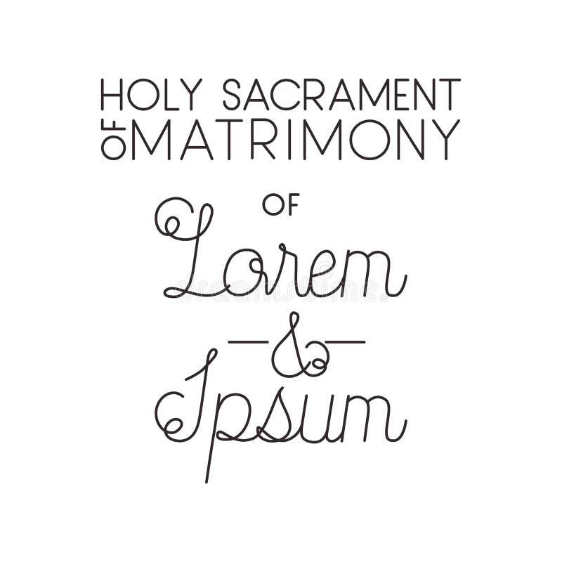 Holy sacrament of matrimony with hand made font royalty free illustration