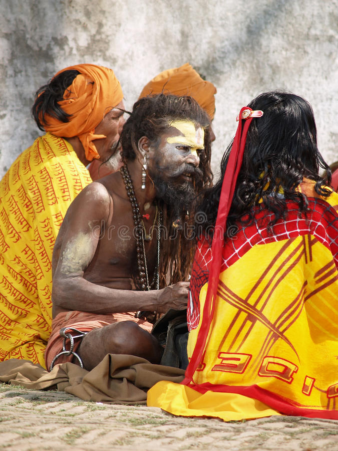Holy sadhu in Nepal royalty free stock images
