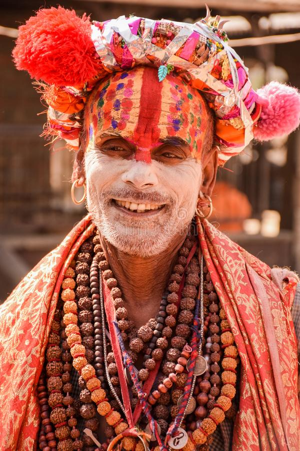 Arresting Sadhus Portrait Photography Religious Photography: Smiling Pilgrim At Kumbh Mela Editorial Stock Photo