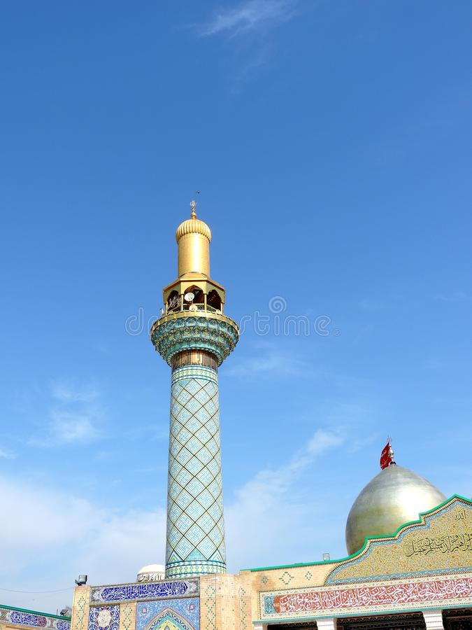 Holy Shrine of Husayn Ibn Ali, Karbala, Iraq. The Imam Husain Shrine or the Station of Imam Husayn Ibn Ali is the mosque and burial site of Husayn Ibn Ali, the royalty free stock image