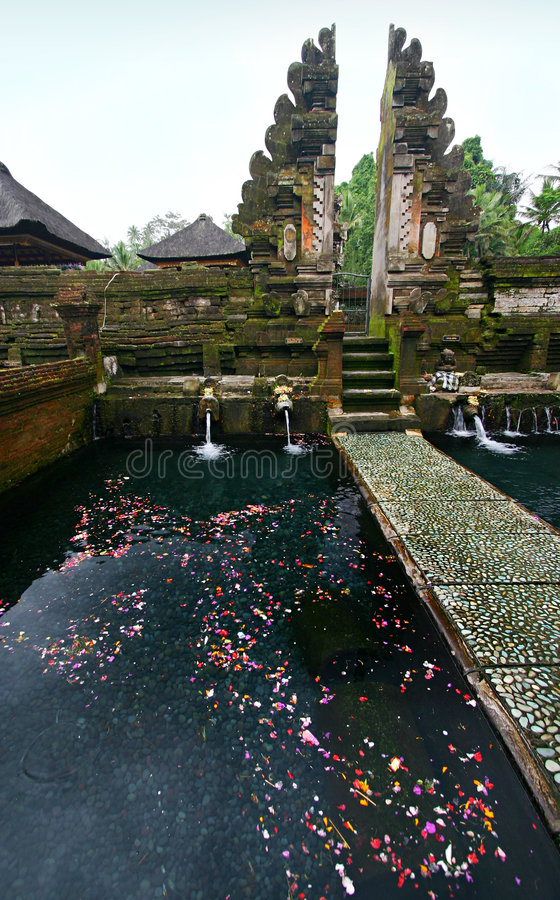 Holy spring in old Bali temple royalty free stock image