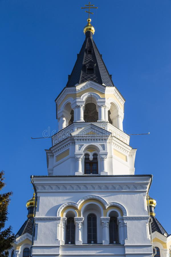 Holy Transfiguration Cathedral. Zhytomyr Zhitomir. Ukraine. Ancient historical Holy Transfiguration Cathedral on the blue sky background. Bell tower royalty free stock images