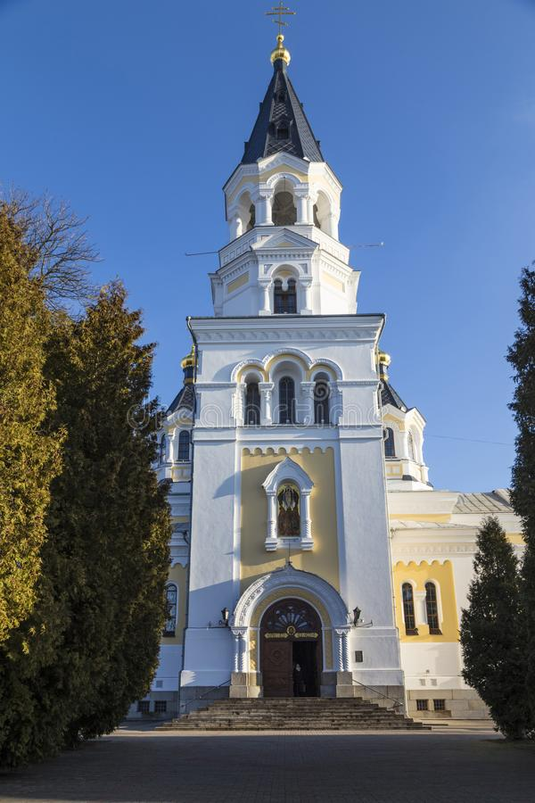 Holy Transfiguration Cathedral. Zhytomyr Zhitomir . Ukraine. Ancient historical Holy Transfiguration Cathedral on the blue sky background. Main entrance royalty free stock image