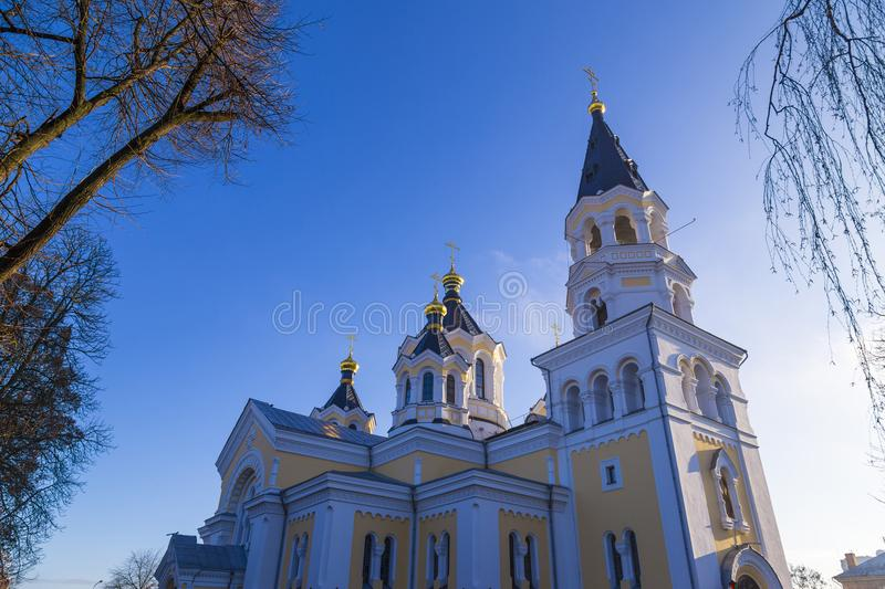 Holy Transfiguration Cathedral. Zhytomyr Zhitomir. Ukraine. Ancient historical Holy Transfiguration Cathedral on the blue sky background. Bottom view royalty free stock images