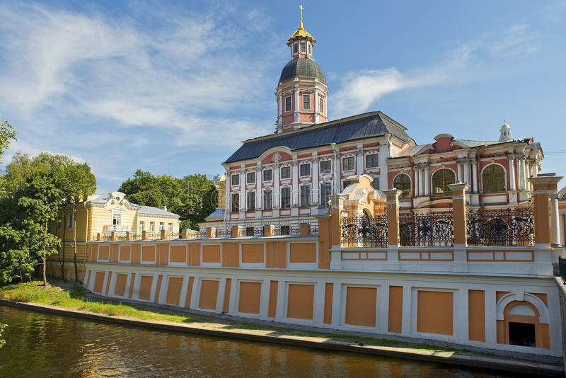 Holy Trinity Alexander Nevsky Lavra, Saint Petersburg, Russia. View of the monastery and Alexander Nevsky Lavra from river Monastyrka, Saint Petersburg, Russia royalty free stock images