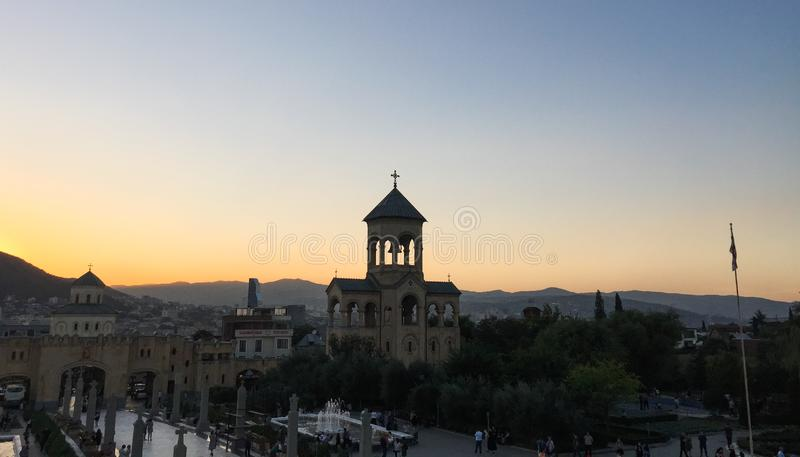 Holy Trinity Cathedral of Tbilisi, Georgia. Tbilisi, Georgia - Sep 23, 2018. Holy Trinity Cathedral at sunset in Tbilisi, Georgia. Church is the third-tallest royalty free stock image