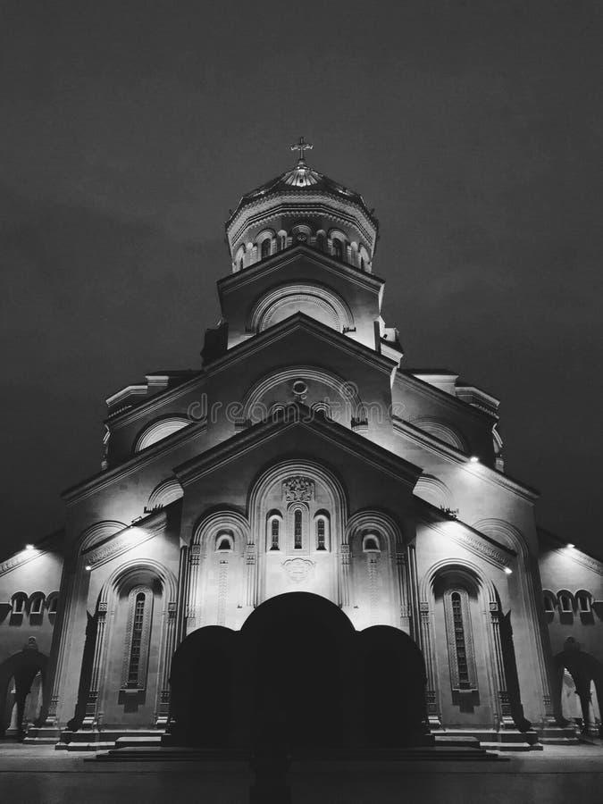 The Holy Trinity Cathedral or Tsminda Sameba Church at night in Tbilisi, Georgia. Holy Trinity Cathedral of Tbilisi, Tsminda Sameba Church, at night in Tbilisi royalty free stock photos