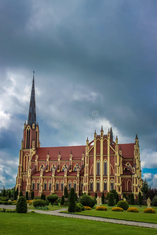 Download Holy Trinity Catholic Church In Gothic Revival Style In Gervyaty Stock Image - Image of belarus, church: 83722327