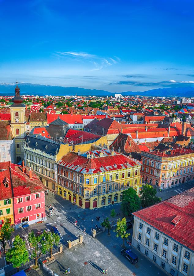 Free Holy Trinity Church And Council Tower In Sibiu City, View From The Bell Tower Of St Mary Cathedral Stock Images - 148503184