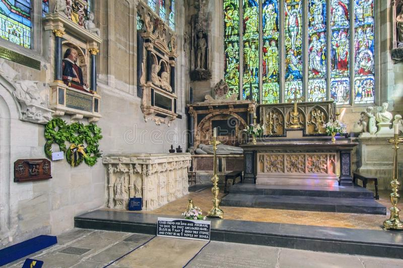 Stratford upon Avon, Warwickshire, England. The Holy Trinity Church, in which William Shakespeare 1616, his wife and his relatives, were buried royalty free stock images