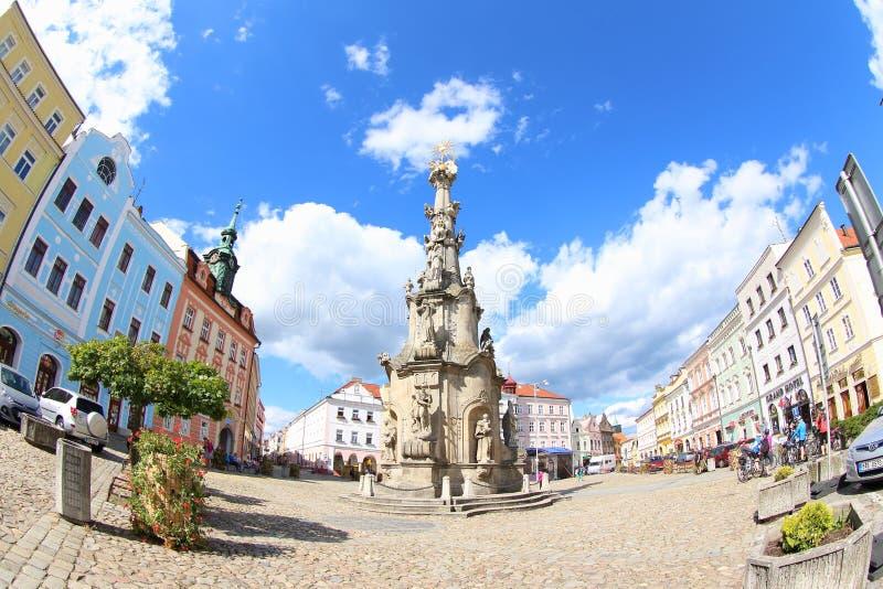 Holy Trinity Column, Jindrichuv Hradec. The impressive baroque Holy trinity column in historic main square of Jindrihuv Hradec Southern Bohemia, Czech Republic stock photo