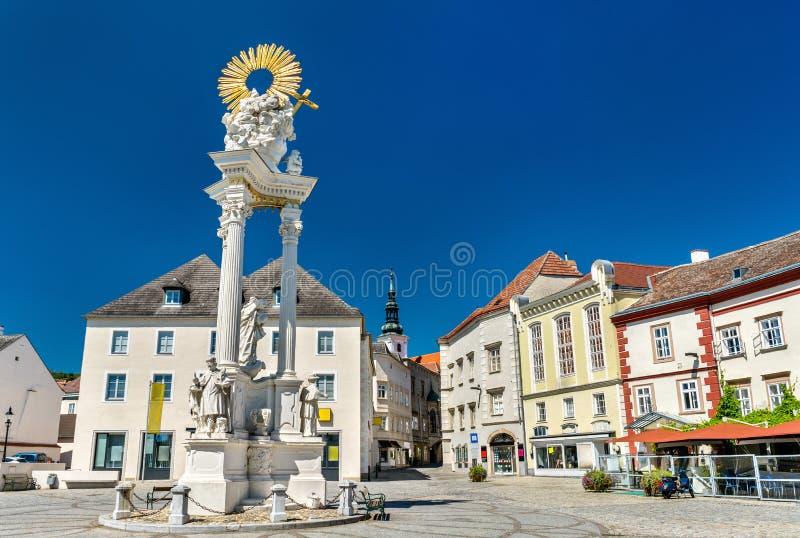 Holy Trinity Column in Krems an der Donau, Austria. Holy Trinity Column in Krems an der Donau. Wachau valley in Austria royalty free stock photo