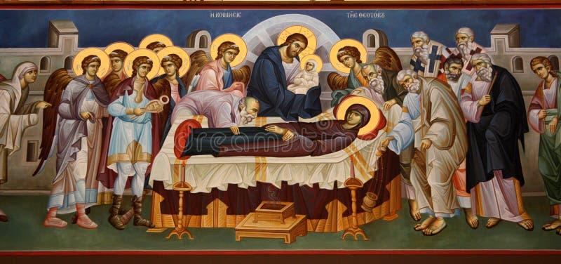 Greek fresco Death of the Virgin stock images