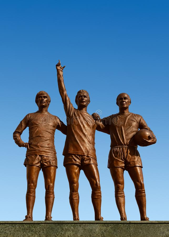Holy Trinity Statue Outside the Manchester United Stadium, Old Trafford royalty free stock image