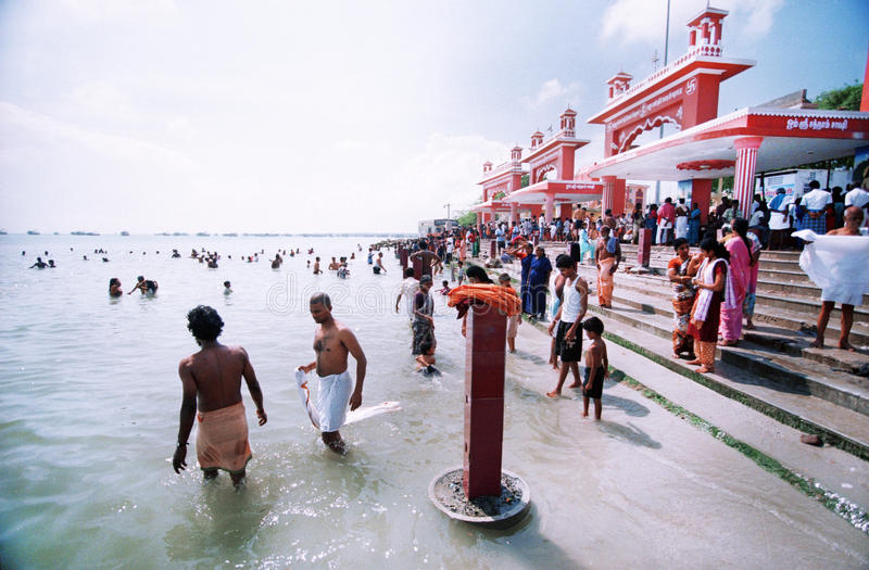 Holy water in the indian city Rameshvaram royalty free stock photo