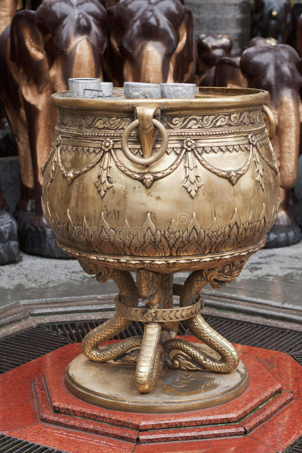 Holy water stoup from Erawan Shrine royalty free stock photos