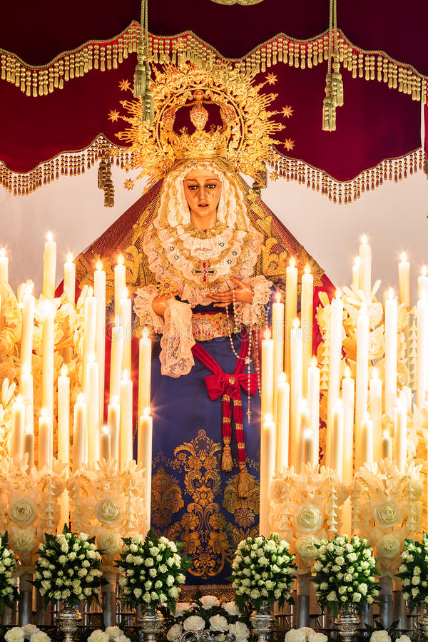 Holy week in Cadiz, Spain. Holy Mary of the Trinity. royalty free stock photography