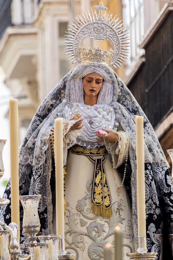 Holy Week in Cadiz,Spain. The Virgin of the Helpless. Fallen Jesus and the Virgin of the Helpless. This Brotherhood goes in procession on Tuesday of Holy Week stock photos