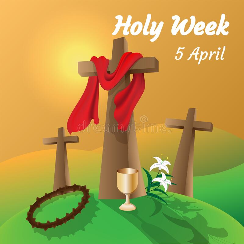 Free Holy Week Catholic Tradition. Cross And Crown Of Thorns Stock Image - 176325261