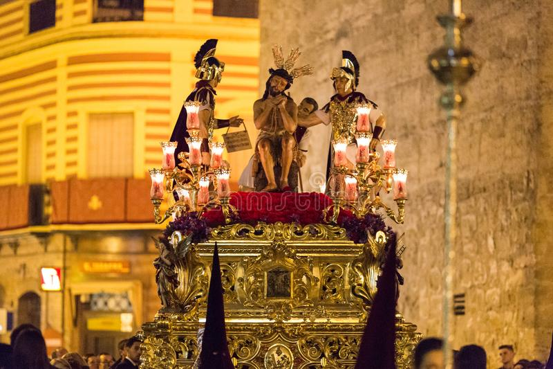 Holy Week Easter. Marchena SEVILLE, SPAIN. Marchena, SEVILLE, SPAIN - March 28, 2018: Procession of Holy Week`Semana Santa` in Marchena, SEVILLE. Holy Wednesday royalty free stock image