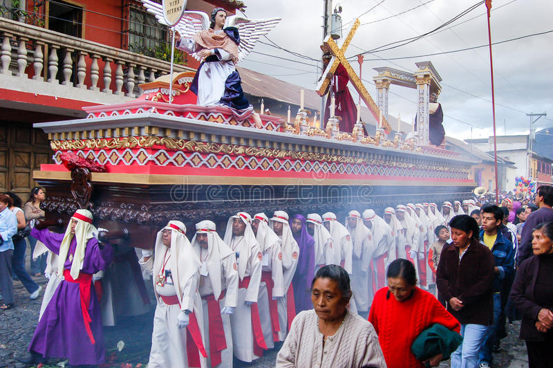 Holy Week religious procession in Antigua, Guatemala royalty free stock photo