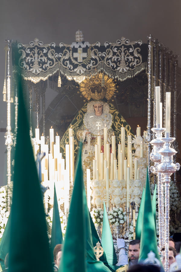 Holy Week in San Fernando, Cadiz, Spain. Our Lady of Grace and Hope Crowned. This Brotherhood goes in procession on Tuesday of Holy Week during the celebration stock images