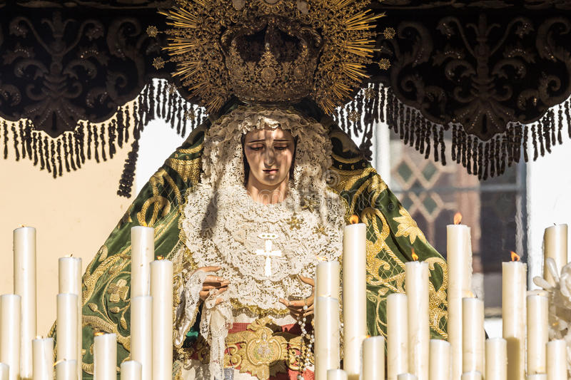 Holy Week in San Fernando, Cadiz, Spain. Our Lady of Grace and Hope Crowned. royalty free stock image