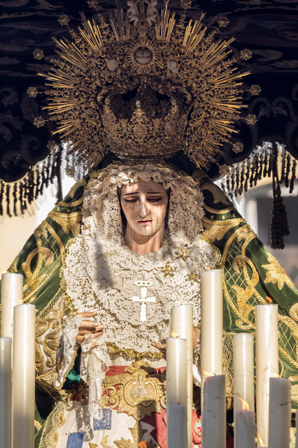 Holy Week in San Fernando, Cadiz, Spain. Our Lady of Grace and Hope Crowned. This Brotherhood goes in procession on Tuesday of Holy Week during the celebration stock photo