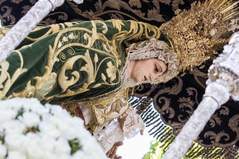 Holy Week in San Fernando, Cadiz, Spain. Our Lady of Grace and Hope Crowned. stock photo