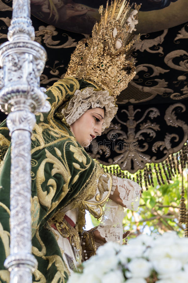 Holy Week in San Fernando, Cadiz, Spain. Our Lady of Grace and Hope Crowned. This Brotherhood goes in procession on Tuesday of Holy Week during the celebration royalty free stock photography