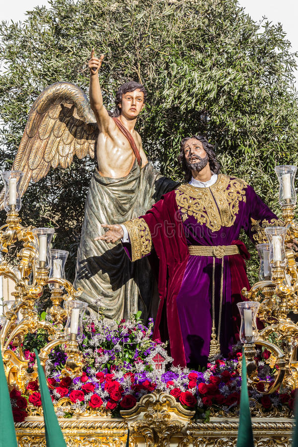 Holy Week in San Fernando, Cadiz, Spain. Prayer of Our Lord in the Garden. This Brotherhood goes in procession on Tuesday of Holy Week during the celebration stock images