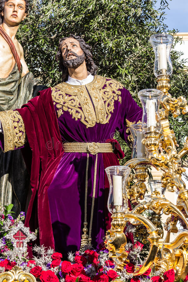 Holy Week in San Fernando, Cadiz, Spain. Prayer of Our Lord in the Garden. This Brotherhood goes in procession on Tuesday of Holy Week during the celebration royalty free stock photography