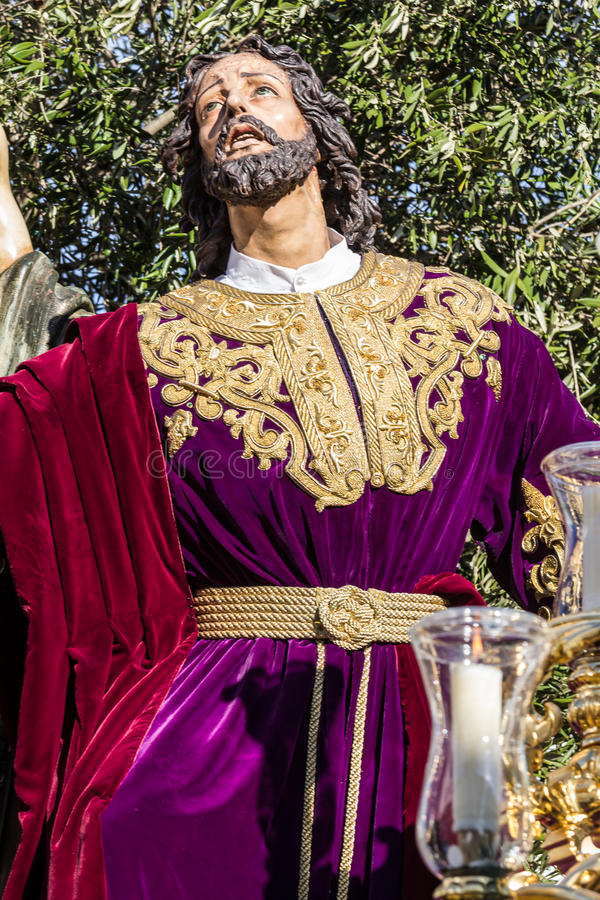 Holy Week in San Fernando, Cadiz, Spain. Prayer of Our Lord in the Garden. This Brotherhood goes in procession on Tuesday of Holy Week during the celebration royalty free stock photo