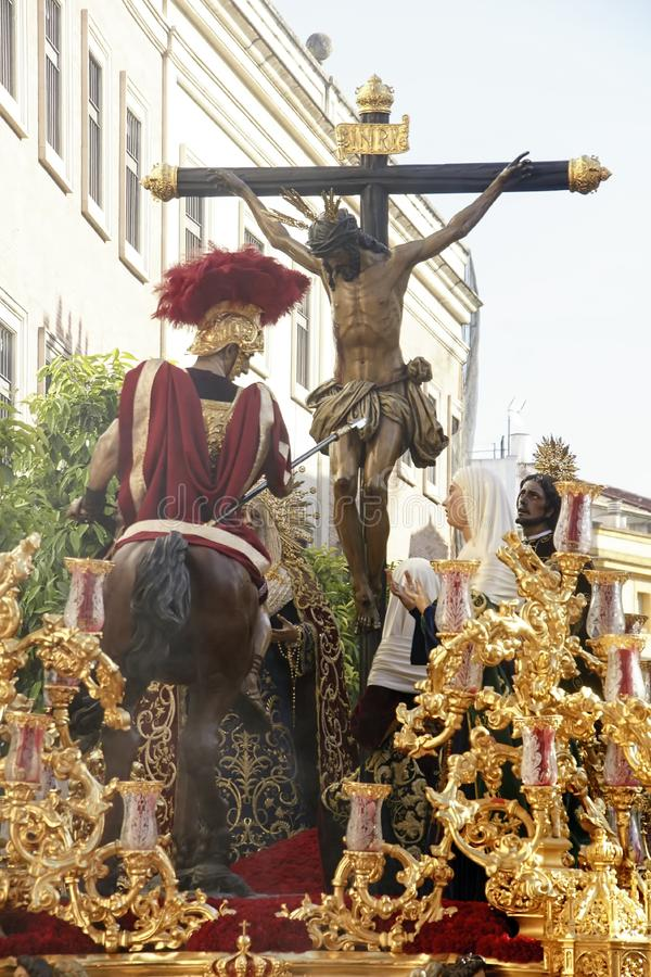 Holy Week in Seville, Brotherhood of the Holy Launched. Procession of the Brotherhood of the Holy launched by the streets of Seville stock photo